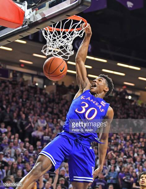 Ochai Agbaji of the Kansas Jayhawks drives in for a dunk against the Kansas State Wildcats during the first half on February 5 2019 at Bramlage...