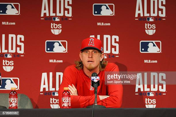 Los Angeles Angels starting pitcher Jered Weaver talks at a pregame press conference before Game 3 of the American League Division Series between the...