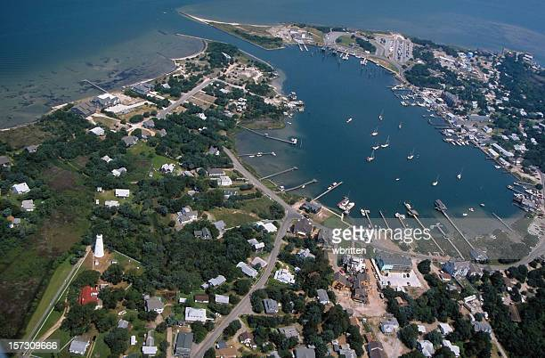 ocracoke island from the air - outer banks stock pictures, royalty-free photos & images