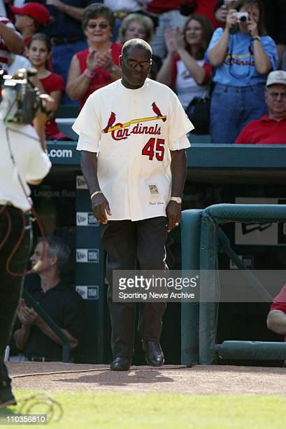 Oct 01 2005 St Louis MO USA BOB GIBSON during the pregame ceremonies between Cincinnati Reds against St Louis Cardinals The Cardinals won 96