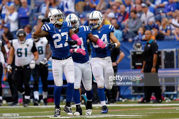 Indianapolis Colts Safety Winston Guy [17843] is pumped after a nice hit during the football game between the Jacksonville Jaguars at Indianapolis...