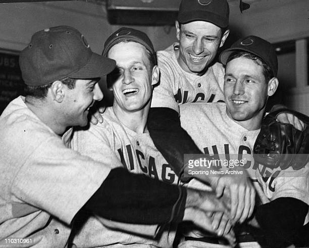 Oct 06 1945 Chicago IL USA Cubs PHIL CAVARETTA HANK BOROWY ANDY PAFKO and BILL NICHOLSON 1945 World Series between the Detroit Tigers and Chicago...