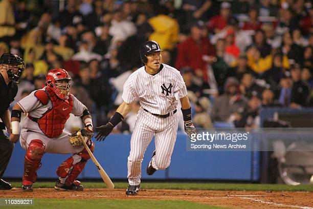 Oct 07 2005 New York NY USA Los Angeles Angels of Anaheim against New York Yankees HIDEKI MATSUI during Game 3 of the American League Division Series...