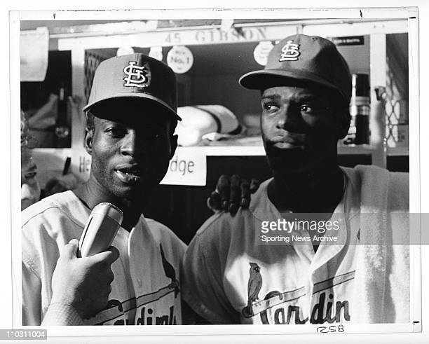 Oct 10 1968 St Louis MO USA LOU BROCK and BOB GIBSON of the St Louis Cardinals 1968 World Series Game 7