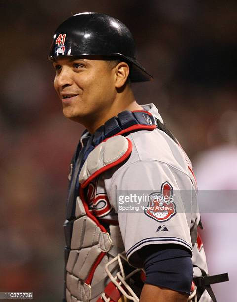Oct 13 2007 Boston MA USA The Cleveland Indians catcher VICTOR MARTINEZ against the Boston Red Sox during game of the American League Championship...