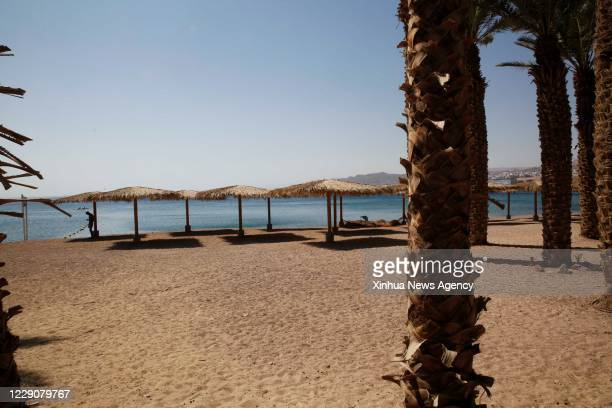 Oct. 14, 2020 -- An empty beach is seen in the southern Israeli resort city of Eilat on Oct. 14, 2020. Israel's health ministry reported on Wednesday...