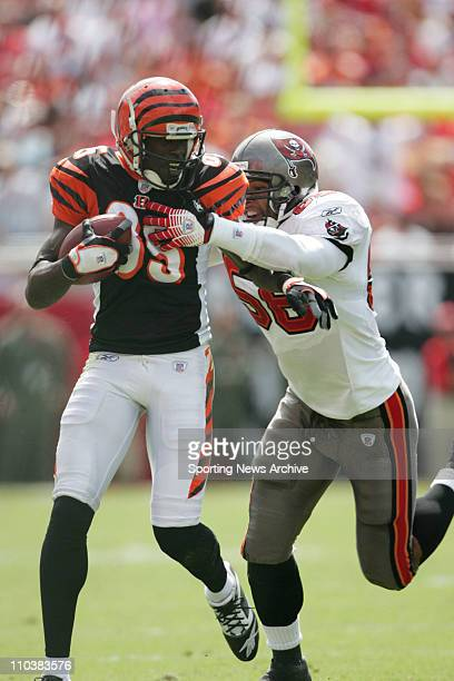 Oct 15 2006 Tampa FL USA Cincinnati Bengals CHAD JOHNSON in action against the Tampa Bay Buccaneers RYAN NECE at Raymond James Stadium The Buccaneers...