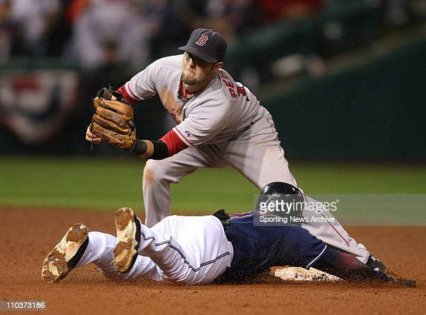 Oct 16 2007 Cleveland OH USA The Cleveland Indians KENNY LOFTON steals second against the Boston Red Sox DUSTIN PEDROIA at Jacobs Field in Cleveland...