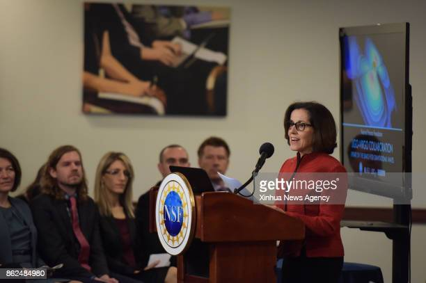 WASHINGTON Oct 16 2017 France Cordova Director of the US National Science Foundation speaks at a news conference about the update on the search for...