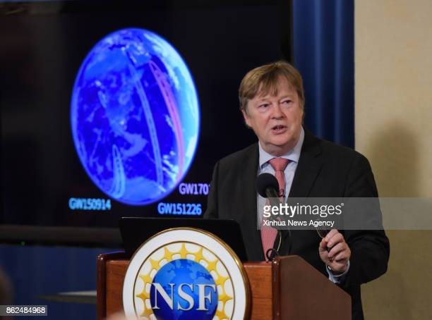 WASHINGTON Oct 16 2017 Jo van den Brand spokesperson of the Virgo collaboration speaks at a news conference about the update on the search for...