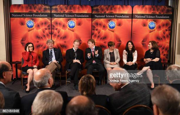 WASHINGTON Oct 16 2017 Scientists attend a news conference about the update on the search for gravitational waves in Washington DC the United States...