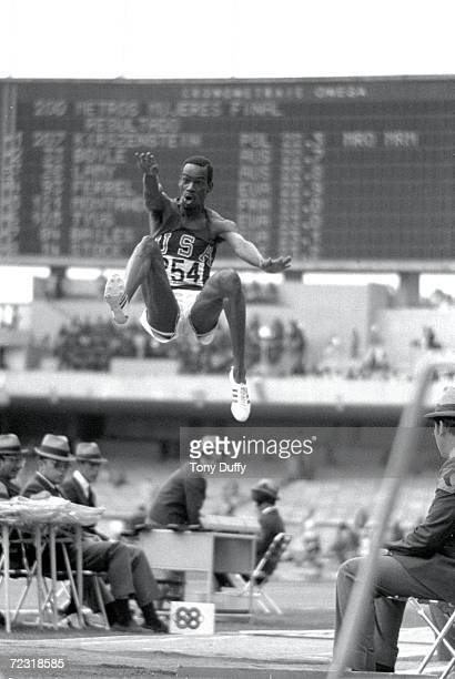 Bob Beamon of the USA breaking the Long Jump World Record during the 1968 Olympic Games in Mexico City Mexico Beamon long jumped 89 m winning the...