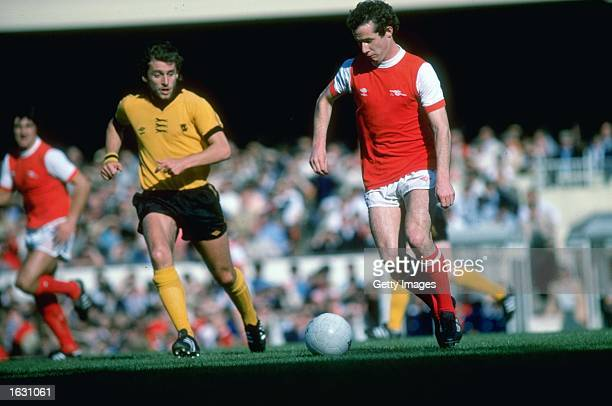 Liam Brady of Arsenal in action during a Football League Division One match against Wolverhampton Wanderers at the Molineux Grounds in Wolverhampton...