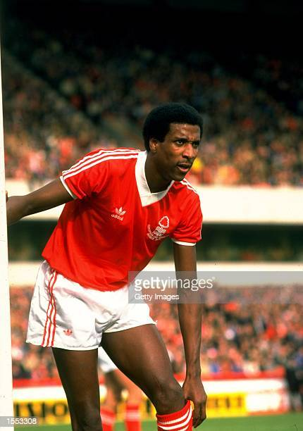 Viv Anderson of Nottingham Forrest adjusts his socks during a Barclays Division One match held at the City Ground in Nottingham England Mandatory...