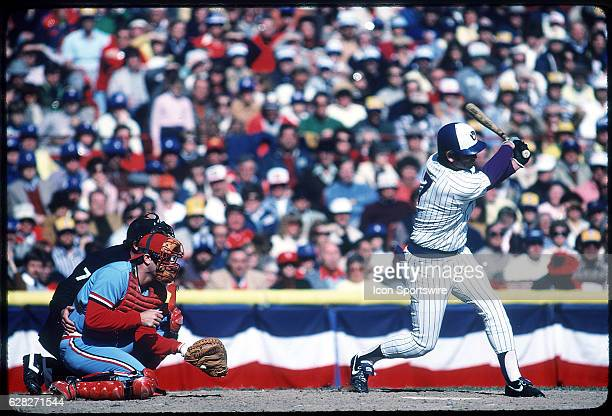 Darrell Porter of the St Louis Cardinals in action during the Cards game versus the Milwaukee Brewers in the 1982 World Series at County Stadium in...