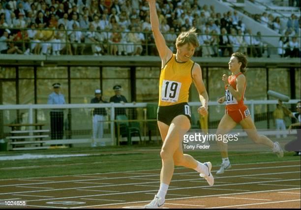 Raelene Boyle of Australia celebrates winning the Gold Medal in the Womens 400m at the Commonwealth Games in Brisbane Australia Mandatory Credit Tony...