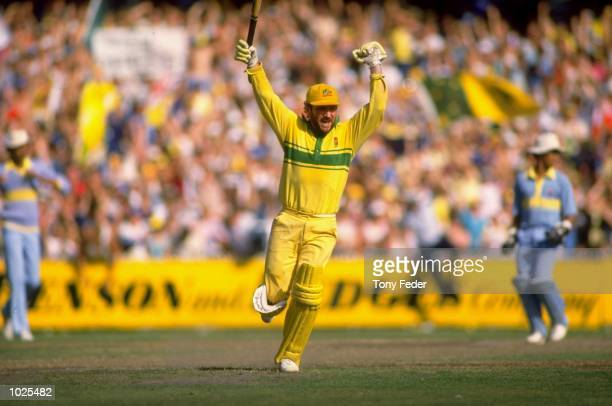 Allan Border of Australia celebrates after securing the series against India in Ahmedarbad, India. \ Mandatory Credit: Tony Feder /Allsport