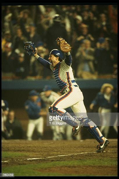 Catcher Gary Carter of the New York Mets celebrates after the Mets 85 win over the Boston Red Sox in game 7 of the World Series at Shea Stadium in...