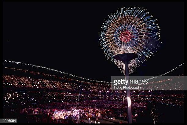 Fireworks light up the night sky during the Closing Ceremony for the 1988 Summer Olympics in Seoul South Korea Mandatory Credit Billy...