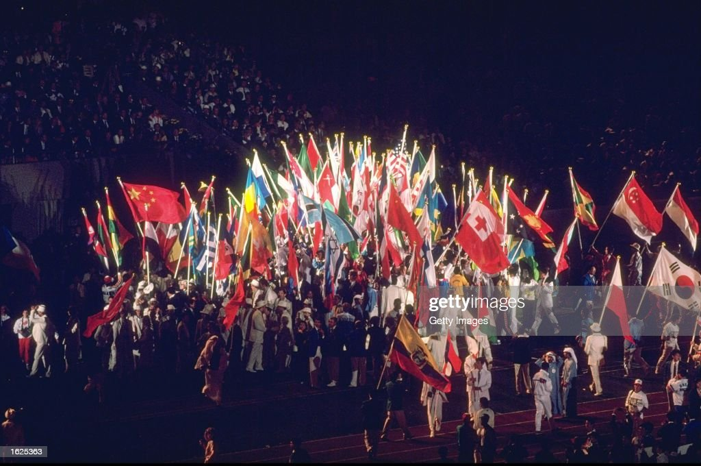 General view of the flags of the competing nations during the Closing Ceremony of the 1988 Olympic Games in Seoul, South Korea. \ Mandatory Credit: Allsport UK /Allsport
