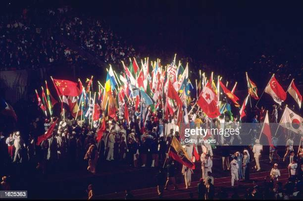 General view of the flags of the competing nations during the Closing Ceremony of the 1988 Olympic Games in Seoul, South Korea. \ Mandatory Credit:...