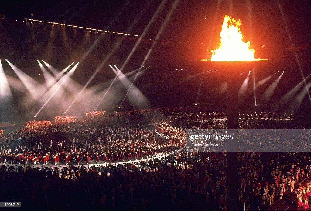 General view of the Olympic Stadium with the Olympic Flame during the Closing Ceremony of the 1988 Olympic Games in Seoul, South Korea. \ Mandatory Credit: David Cannon/Allsport