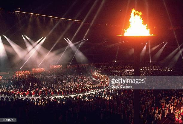General view of the Olympic Stadium with the Olympic Flame during the Closing Ceremony of the 1988 Olympic Games in Seoul South Korea Mandatory...