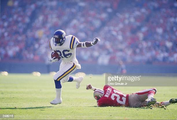 Running back Allen Rice of the Minnesota Vikings runs with the ball during a game against the San Francisco 49ers at Candlestick Park in San...