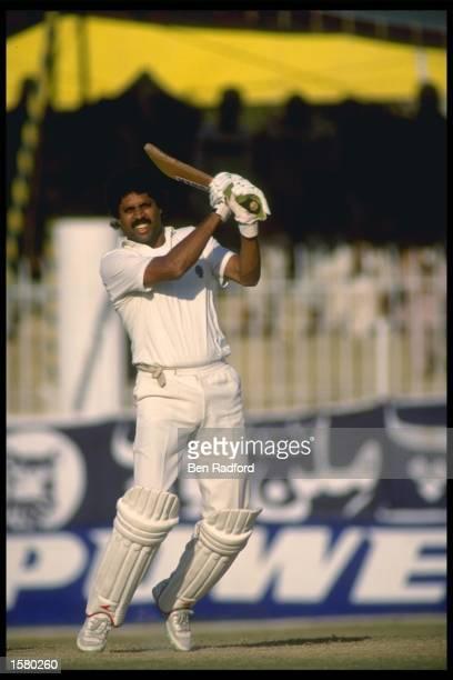 India captain Kapil Dev bats against Pakistan Mandatory Credit Ben Radford/Allsport UK