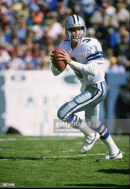 Quarterback Steve Walsh of the Dallas Cowboys in action during a game against the Green Bay Packers at Lambeau Field in Green Bay Wisconsin The...