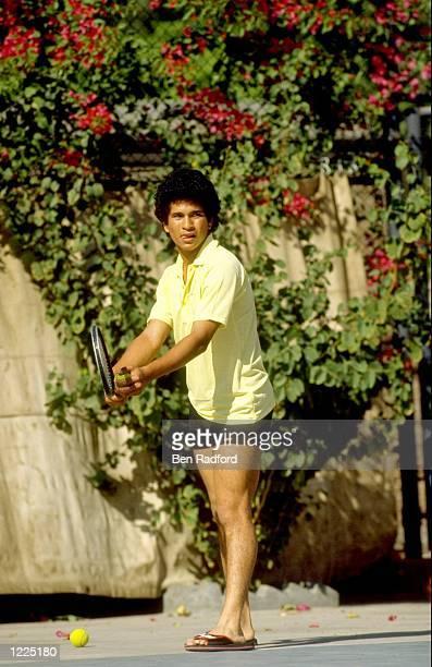 Sachin Tendulkar of India plays tennis in Lahore Pakistan Mandatory Credit Ben Radford/Allsport
