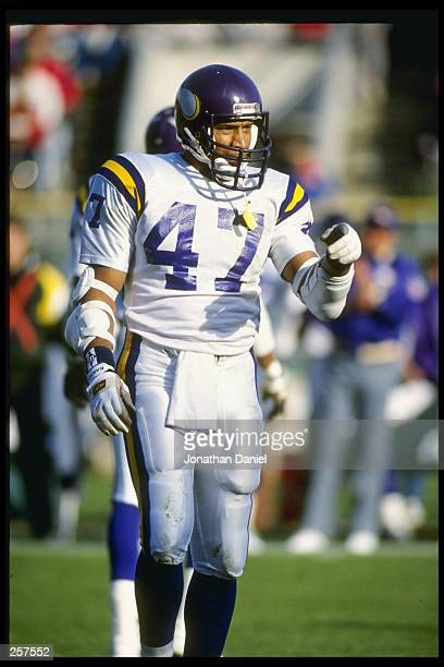 Defensive back Joey Browner of the Minnesota Vikings looks on during a game against the Green Bay Packers at Milwaukee County Stadium in Milwaukee...