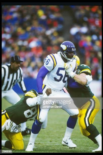 Linebacker Chris Doleman of the Minnesota Vikings looks on during a game against the Green Bay Packers at Milwaukee County Stadium in Milwaukee...