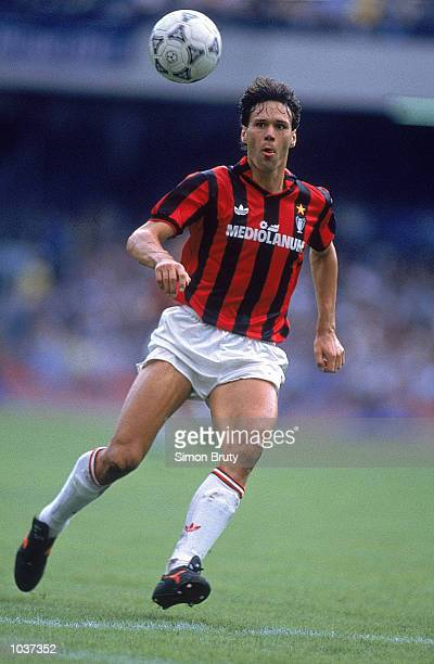 Marco Van Basten of AC Milan in action during the Italian Serie A match against Napoli played at the San Paolo Stadium in Naples Italy The game ended...