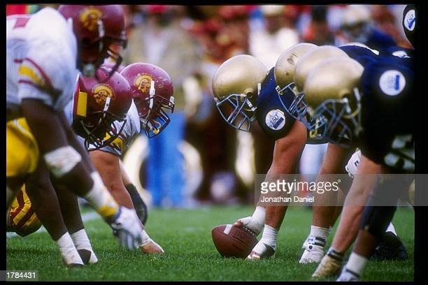 General view of the line of scrimmage during a game between the Southern California Trojans and the Notre Dame Fighting Irish at Notre Dame Stadium...