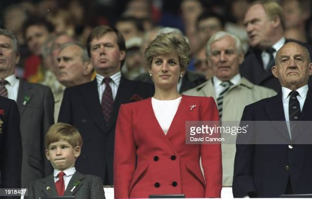 HRH Princess Diana and HRH Prince Harry stand for the National Anthem at the Wales v Australia match during the 1991 World Cup at Cardiff Arms Park...