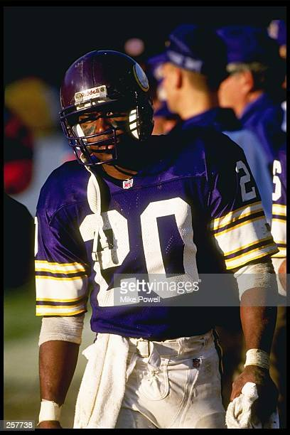 Running back Darrin Nelson of the Minnesota Vikings looks on during a game against the Phoenix Cardinals at Sun Devil Stadium in Tempe Arizona The...