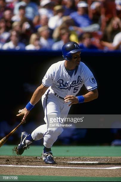 George Brett of the Kansas City Royals runs after hitting a pitch during a game against the Minnesota Twins Mandatory Credit Earl Richardson /Allsport