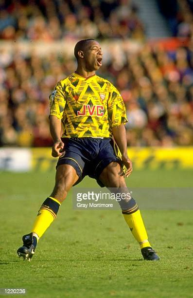 Ian Wright of Arsenal in action during the Premier League match against Nottingham Forest played at the City Ground in Nottingham England Arsenal won...