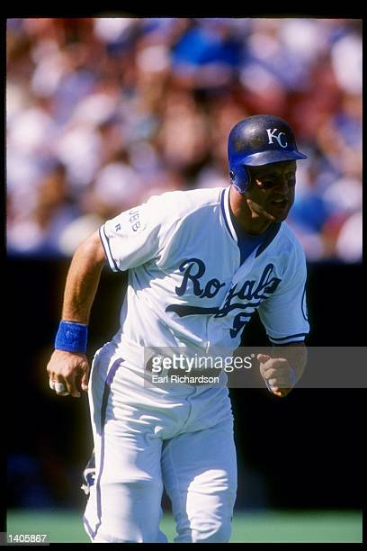 Infielder George Brett of the Kansas City Royals in action during a game against the Minnesota Twins at Royals Stadium in Kansas City Missouri...
