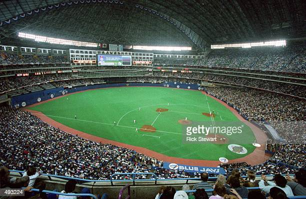 A wide view of the baseball diamond taken during the 1993 World Series game between the Philadelphia Phillies and the Toronto Blue Jays at the...