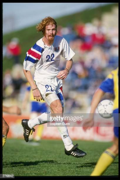Alexi Lalas of the USA during their 10 loss to the Ukraine in Bethlehem Pennsylvania Mandatory Credit Stephen Dunn /Allsport