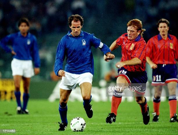 Franco Baresi of Italy is closed down by Stuart McCall of Scotland during the World Cup qualifier at the Stadio Olimpico in Rome. Italy won 3-1. \...