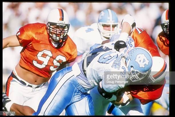 Fullback William Henderson of the North Carolina Tar Heels in action during a game against the Virginia Cavaliers at Scott Stadium in Charlottesville...