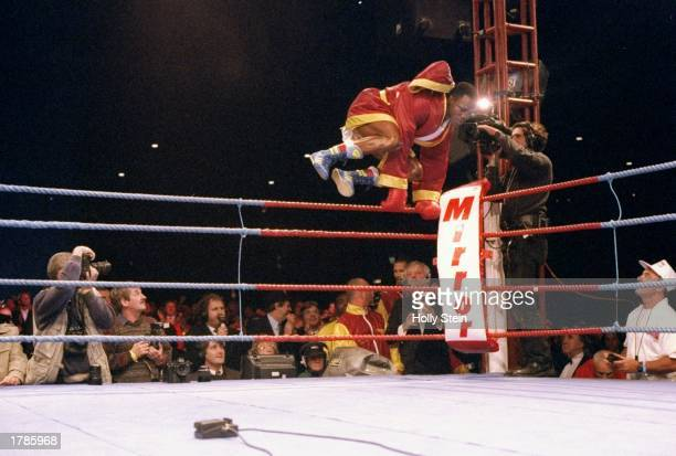 General view of action in the ring during a fight between Chris Eubank and Nigel Benn