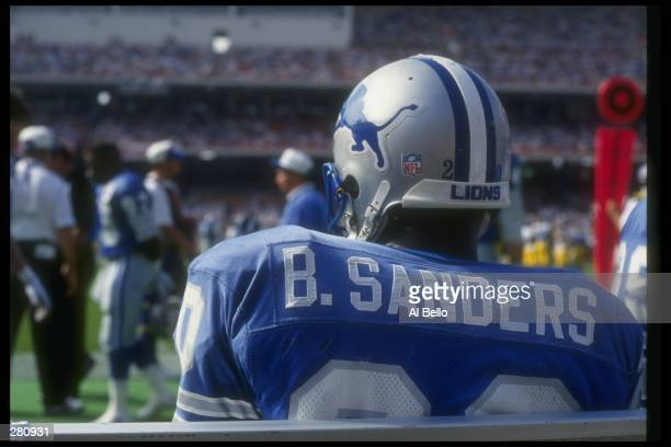 Running back Barry Sanders of the Detroit Lions looks on during a game against the Los Angeles Rams at Anaheim Stadium in Anaheim California The...