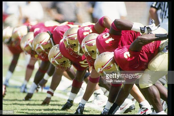 View of the Florida State Seminoles warming up before a game against the Georgia Tech Yellow Jackets at the Doak S. Campbell Stadium in Tallahassee,...