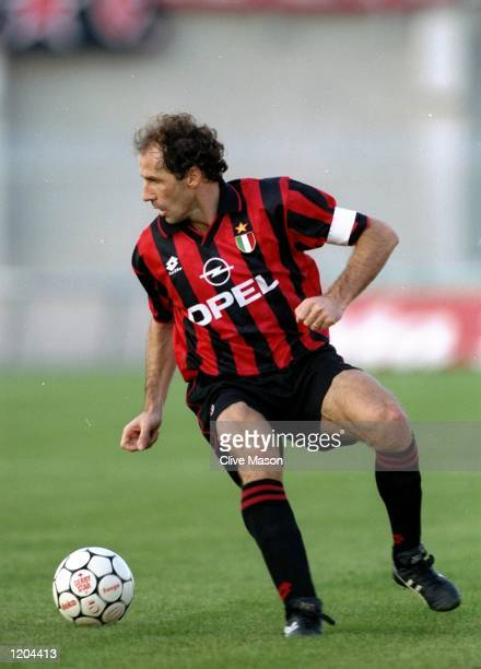Franco Baresi of AC Milan in action during a Serie A match against Padova Calico at the Silvio Appiani Stadium in Padua, Italy. Padova Calico won the...