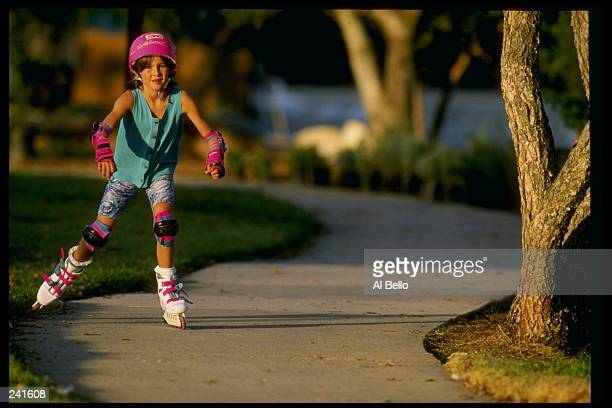 General view of a child on roller blades Mandatory Credit Al Bello /Allsport