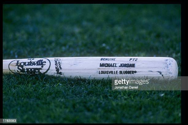 General view of the bat being used by Michael Jordan of the Scottsdale Scorpions